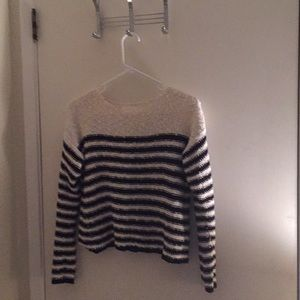 Black and white striped knit sweater